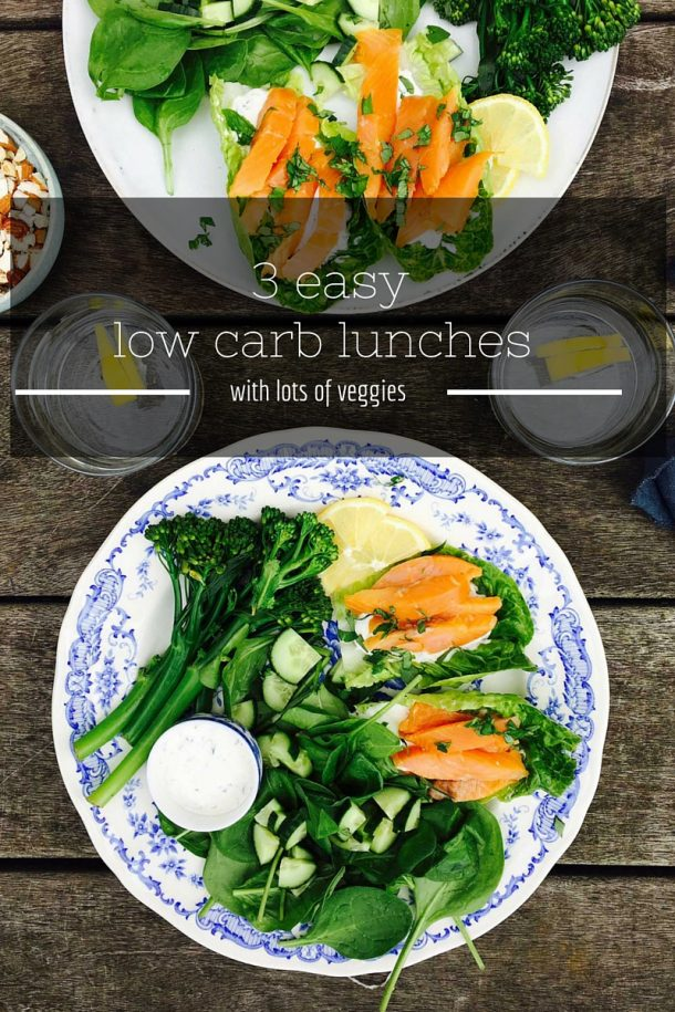 3 easy low carb lunches with lots of veggies. See how to make your low carb diet green and inviting. --> MyCopenhagenKitchen.com