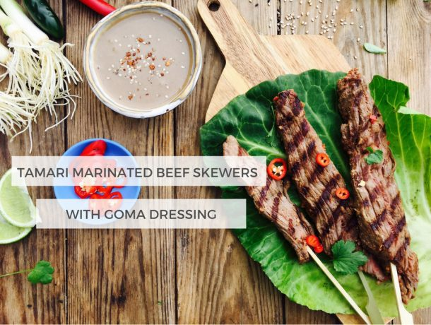 Tamari marinated beef skewers with Goma-dipping sauce