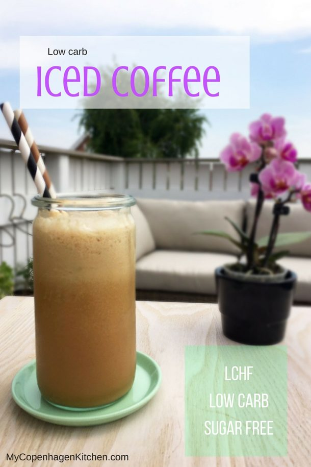 Low carb and sugar free iced coffee - suitable for people following a LCHF or keto lifestyle. Recipe here: MyCopenhagenKitchen.com