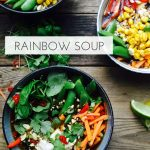 Rainbow soup - healthy soup recipe with chicken and lots of veggies