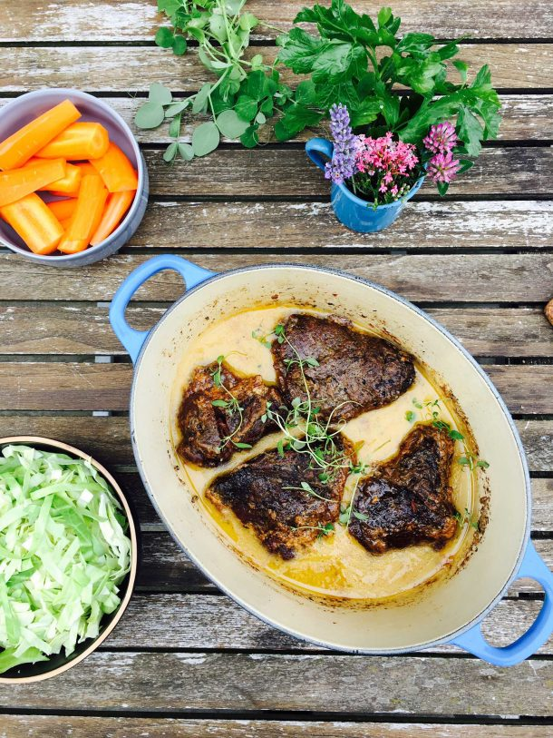Slow cooked ox cheeks in a creamy sauce. Try this delicious tender cut of meat - it's so good! Easy recipe here: MyCopenhagenKitchen.com