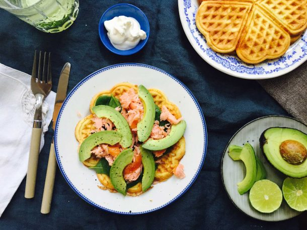 Cheese waffles with spinach, salmon and avocado. A delicious low carb/LCHF lunch. Recipe here: MyCopenhagenKitchen.com