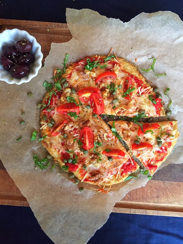 Tuna pizza - very low carb pizza recipe that's also dairy free. And don't let the tuna crust scare you! It's really tasty! Easy recipe here: MyCopenhagenKitchen.com