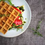 Waffle sandwich with grilled vegetable. A low carb/LCHF lunch with the taste of summer. Recipe here: MyCopenhagenKitchen.com